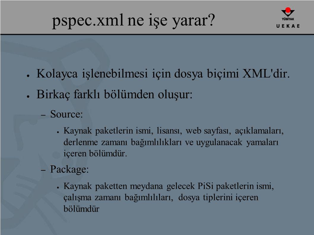 pspec.xml ne işe yarar. ● Kolayca işlenebilmesi için dosya biçimi XML dir.
