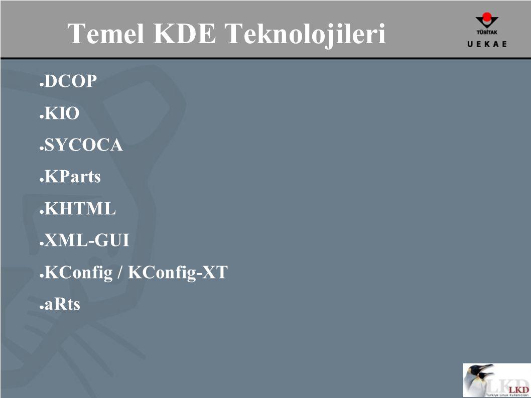 Temel KDE Teknolojileri ● DCOP ● KIO ● SYCOCA ● KParts ● KHTML ● XML-GUI ● KConfig / KConfig-XT ● aRts