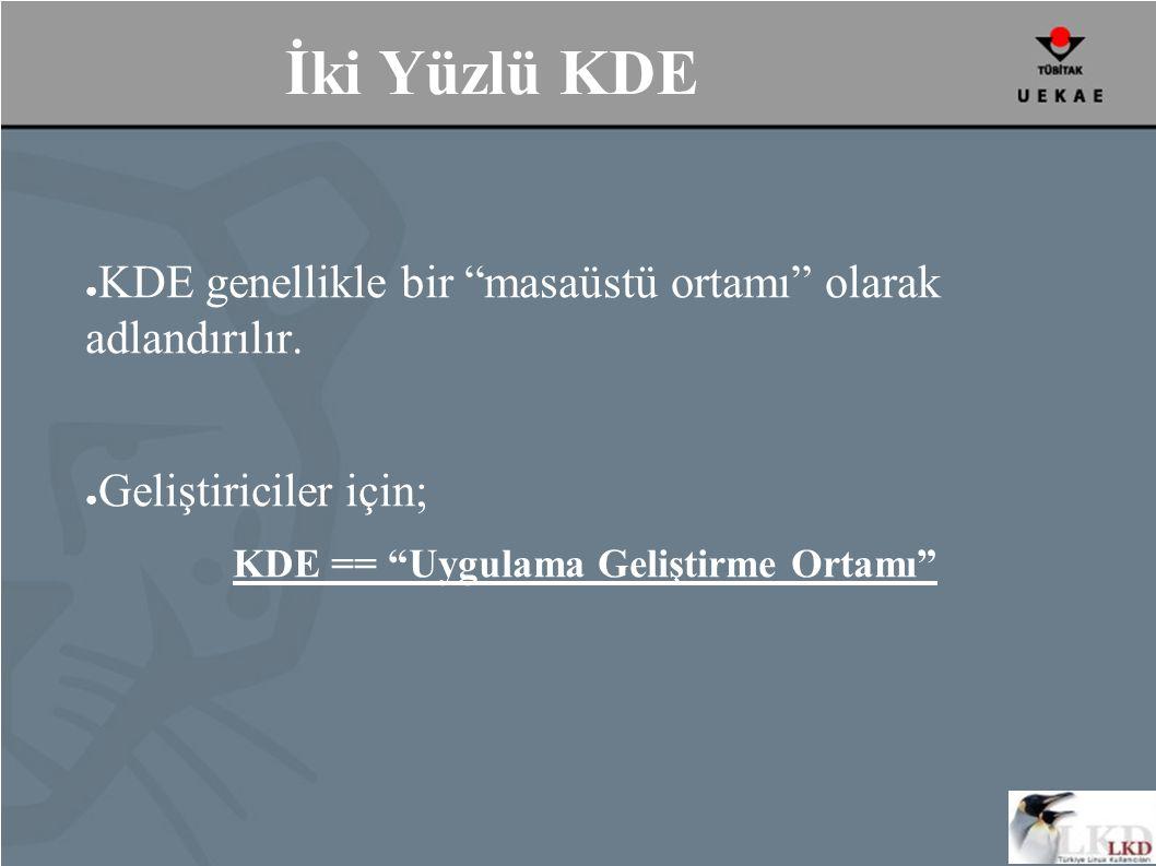 İki Yüzlü KDE ● KDE genellikle bir masaüstü ortamı olarak adlandırılır.