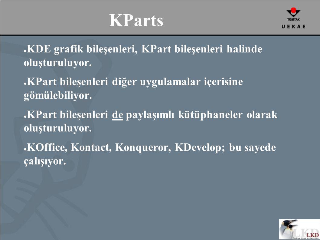 KParts ● KDE grafik bileşenleri, KPart bileşenleri halinde oluşturuluyor.