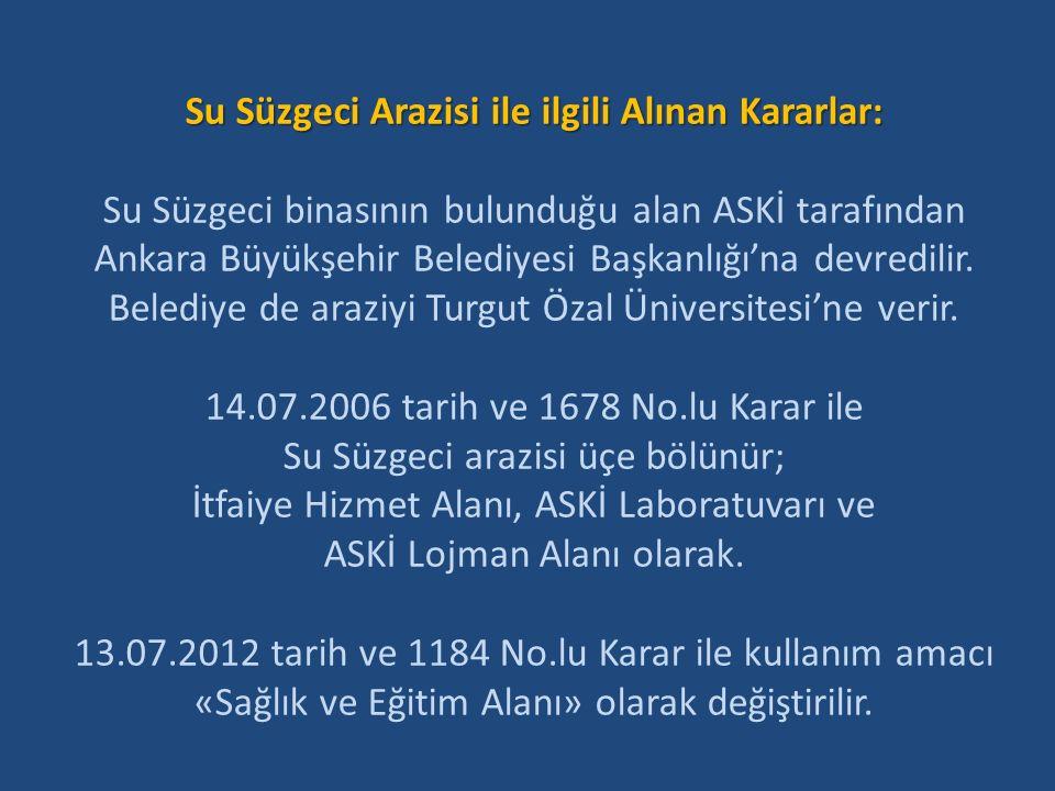 Su Süzgeci Arazisi ile ilgili Alınan Kararlar: Su Süzgeci binasının bulunduğu alan ASKİ tarafından Ankara Büyükşehir Belediyesi Başkanlığı'na devredilir.