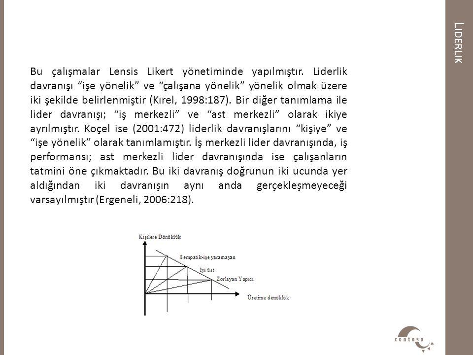"""L IDERLIK Bu çalışmalar Lensis Likert yönetiminde yapılmıştır. Liderlik davranışı """"işe yönelik"""" ve """"çalışana yönelik"""" yönelik olmak üzere iki şekilde"""