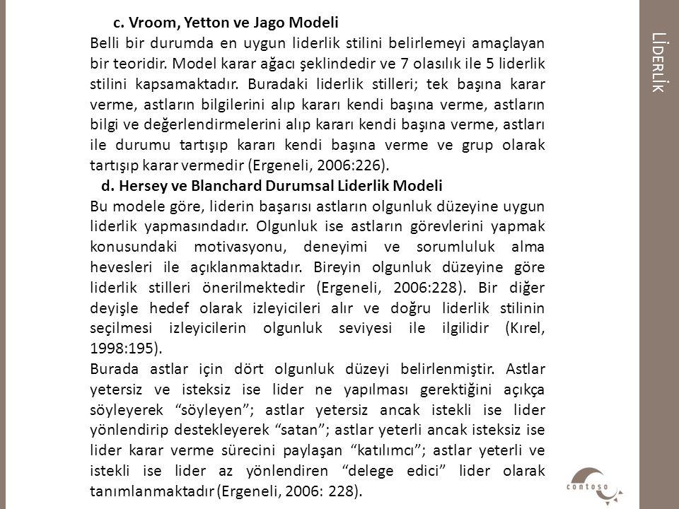 Lİ DERL İ K c. Vroom, Yetton ve Jago Modeli Belli bir durumda en uygun liderlik stilini belirlemeyi amaçlayan bir teoridir. Model karar ağacı şeklinde