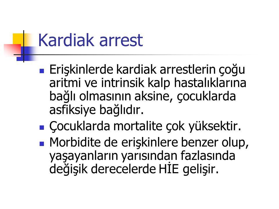 Kardiak arrest Erişkinlerde kardiak arrestlerin çoğu aritmi ve intrinsik kalp hastalıklarına bağlı olmasının aksine, çocuklarda asfiksiye bağlıdır. Ço