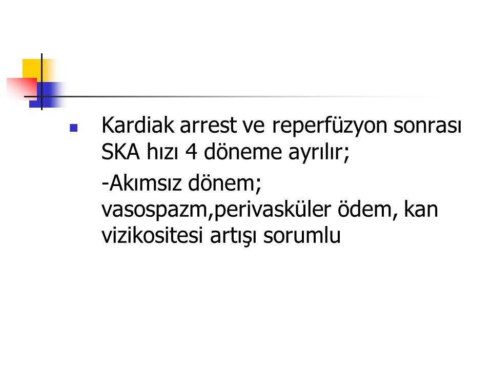 Kardiak arrest ve reperfüzyon sonrası SKA hızı 4 döneme ayrılır; -Akımsız dönem; vasospazm,perivasküler ödem, kan vizikositesi artışı sorumlu