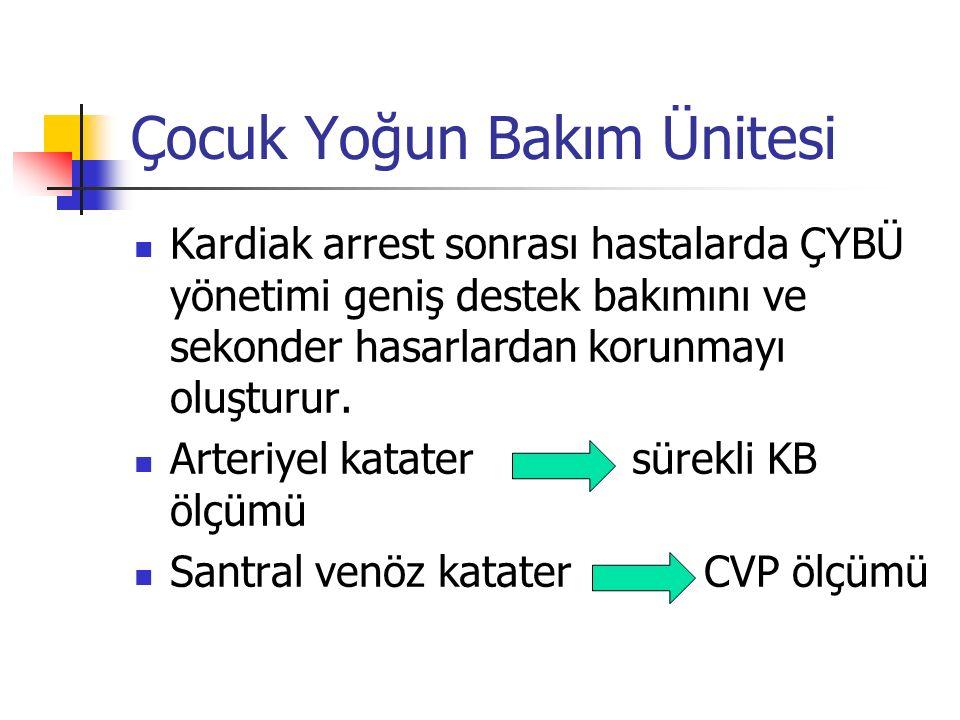 Çocuk Yoğun Bakım Ünitesi Kardiak arrest sonrası hastalarda ÇYBÜ yönetimi geniş destek bakımını ve sekonder hasarlardan korunmayı oluşturur. Arteriyel