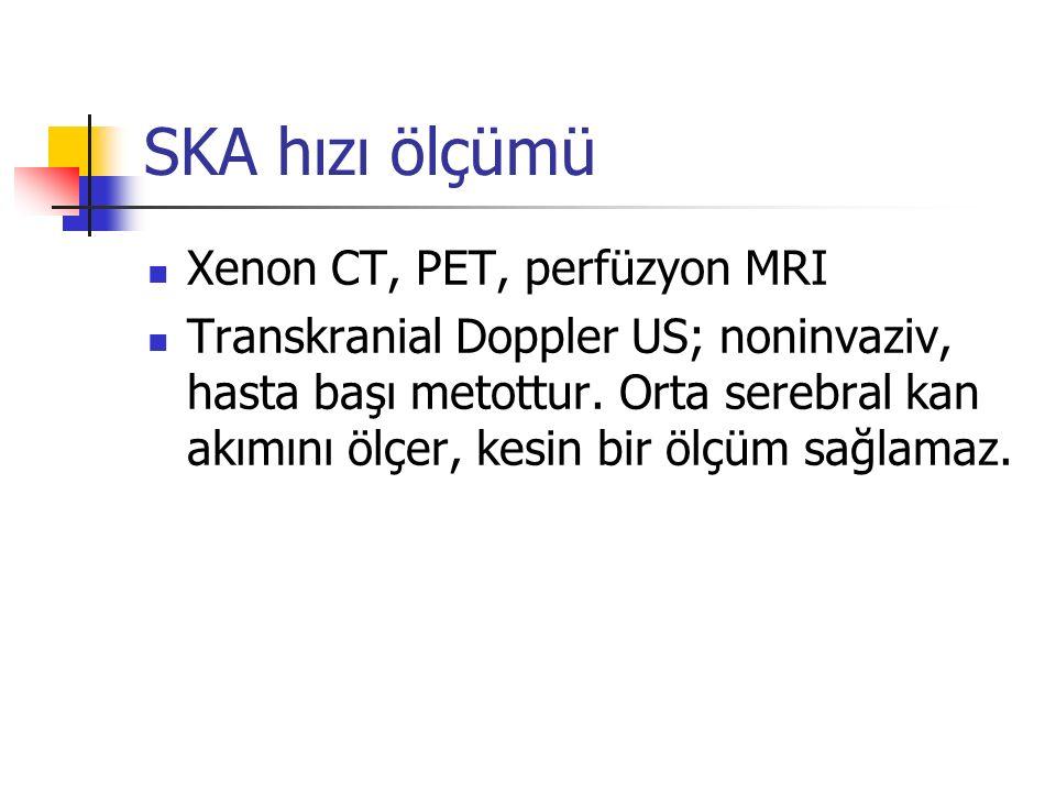 SKA hızı ölçümü Xenon CT, PET, perfüzyon MRI Transkranial Doppler US; noninvaziv, hasta başı metottur. Orta serebral kan akımını ölçer, kesin bir ölçü