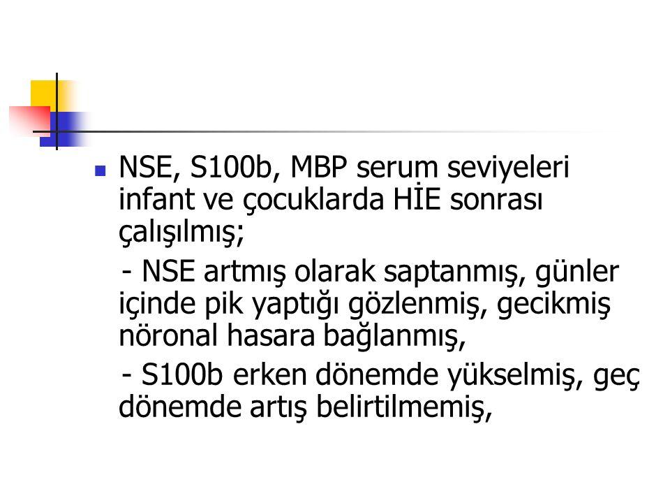 NSE, S100b, MBP serum seviyeleri infant ve çocuklarda HİE sonrası çalışılmış; - NSE artmış olarak saptanmış, günler içinde pik yaptığı gözlenmiş, geci