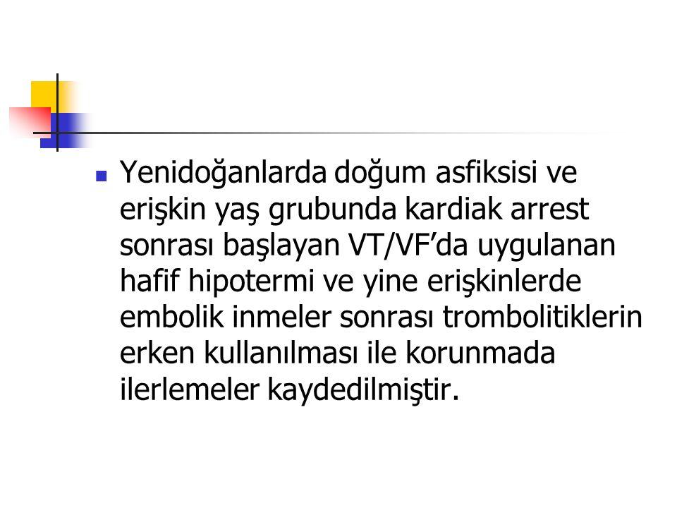 Yenidoğanlarda doğum asfiksisi ve erişkin yaş grubunda kardiak arrest sonrası başlayan VT/VF'da uygulanan hafif hipotermi ve yine erişkinlerde embolik