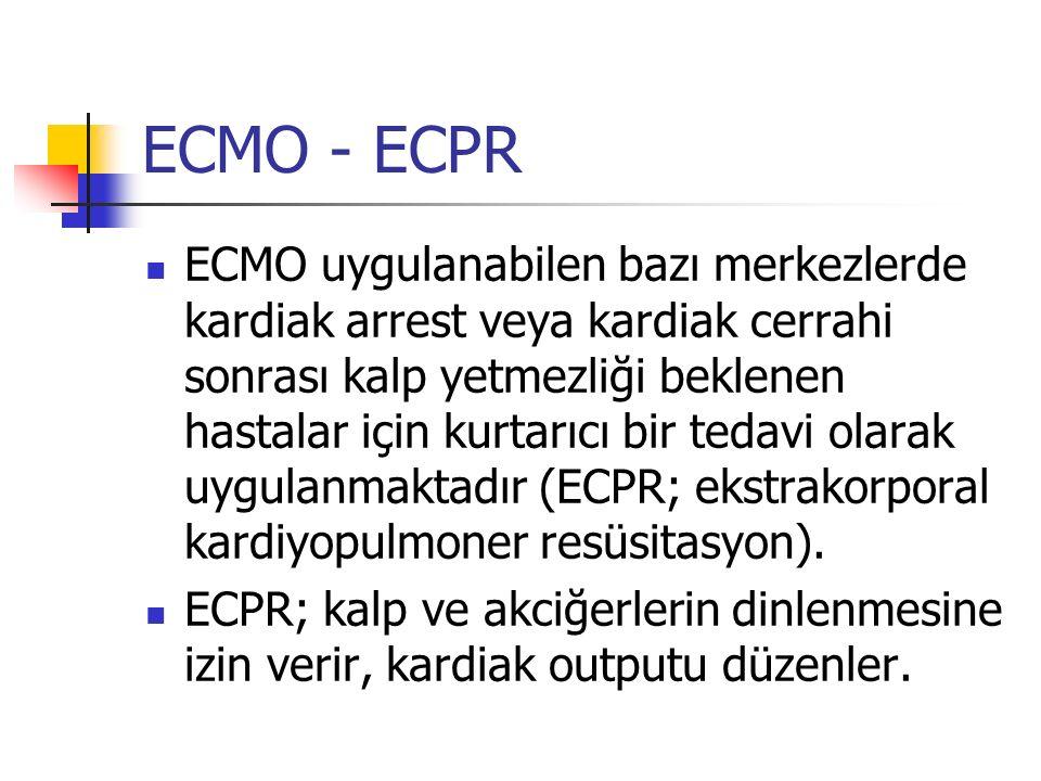 ECMO - ECPR ECMO uygulanabilen bazı merkezlerde kardiak arrest veya kardiak cerrahi sonrası kalp yetmezliği beklenen hastalar için kurtarıcı bir tedav