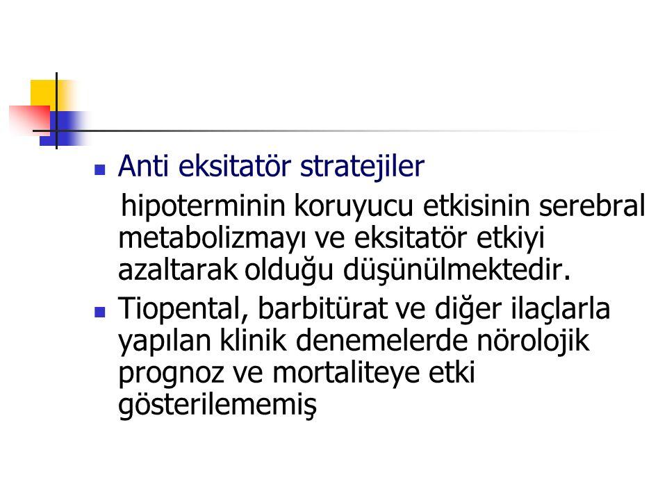 Anti eksitatör stratejiler hipoterminin koruyucu etkisinin serebral metabolizmayı ve eksitatör etkiyi azaltarak olduğu düşünülmektedir. Tiopental, bar