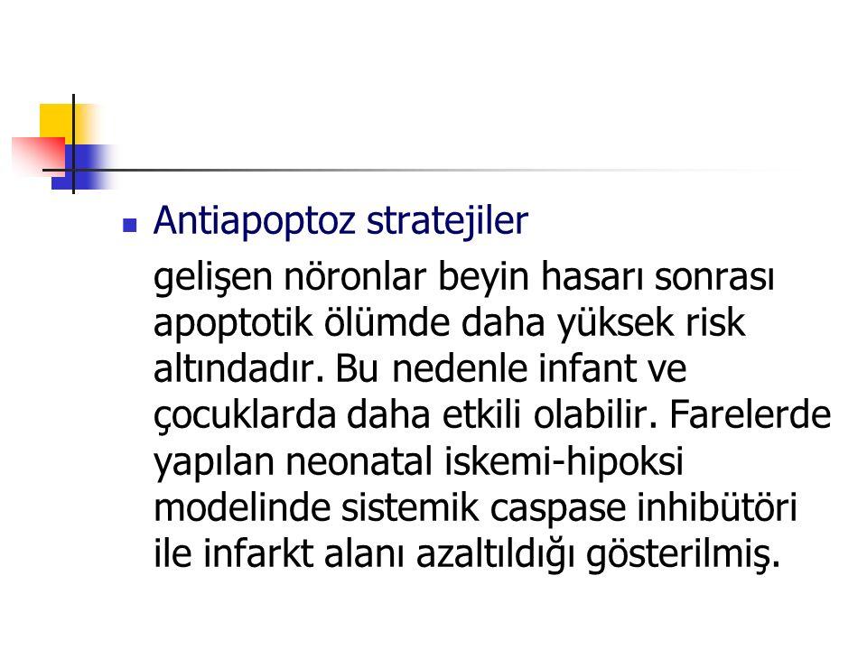 Antiapoptoz stratejiler gelişen nöronlar beyin hasarı sonrası apoptotik ölümde daha yüksek risk altındadır. Bu nedenle infant ve çocuklarda daha etkil