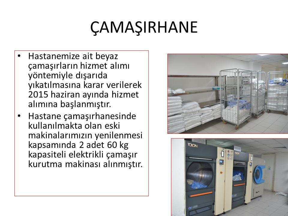 ÇAMAŞIRHANE Hastanemize ait beyaz çamaşırların hizmet alımı yöntemiyle dışarıda yıkatılmasına karar verilerek 2015 haziran ayında hizmet alımına başlanmıştır.