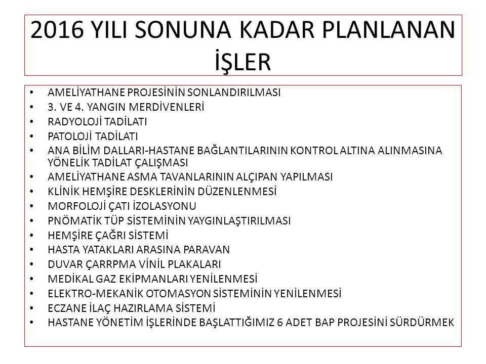 2016 YILI SONUNA KADAR PLANLANAN İŞLER AMELİYATHANE PROJESİNİN SONLANDIRILMASI 3.