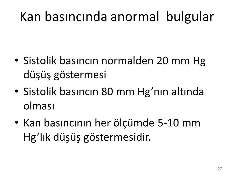 Kan basıncında anormal bulgular Sistolik basıncın normalden 20 mm Hg düşüş göstermesi Sistolik basıncın 80 mm Hg'nın altında olması Kan basıncının her