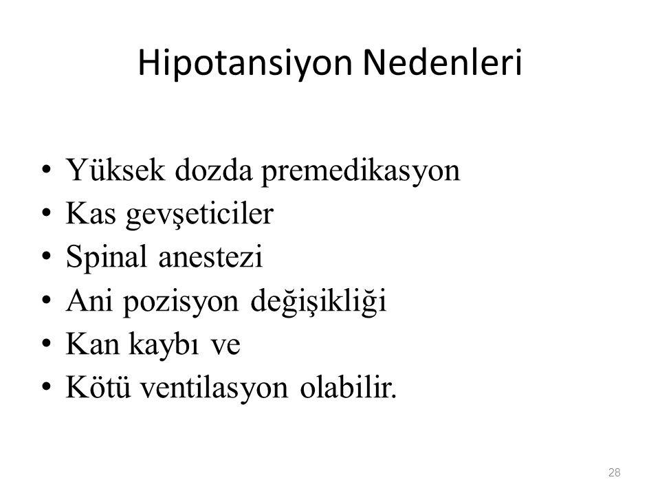 Hipotansiyon Nedenleri Yüksek dozda premedikasyon Kas gevşeticiler Spinal anestezi Ani pozisyon değişikliği Kan kaybı ve Kötü ventilasyon olabilir. 28