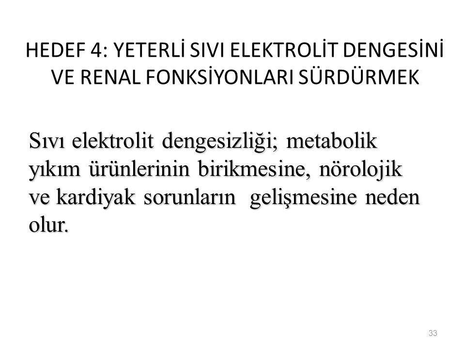 HEDEF 4: YETERLİ SIVI ELEKTROLİT DENGESİNİ VE RENAL FONKSİYONLARI SÜRDÜRMEK 33 Sıvı elektrolit dengesizliği; metabolik yıkım ürünlerinin birikmesine,