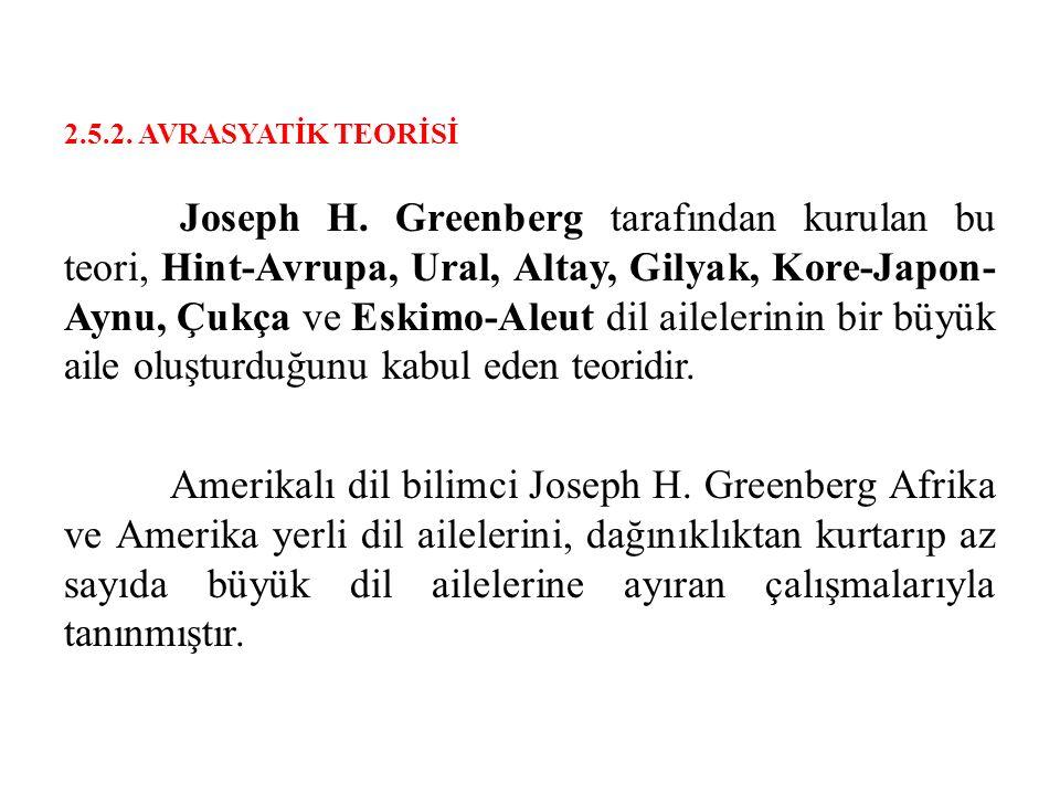 2.5.2. AVRASYATİK TEORİSİ Joseph H.