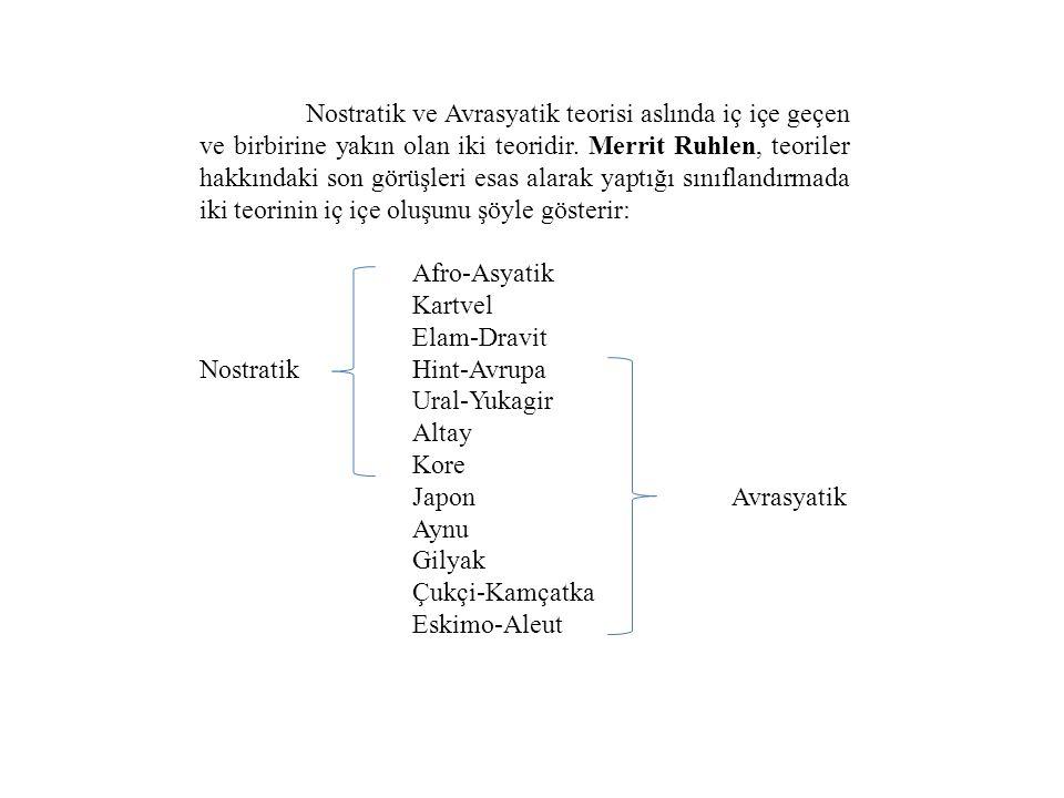 Nostratik ve Avrasyatik teorisi aslında iç içe geçen ve birbirine yakın olan iki teoridir.