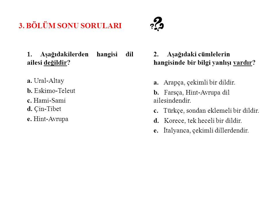 3. BÖLÜM SONU SORULARI 1. Aşağıdakilerden hangisi dil ailesi değildir.