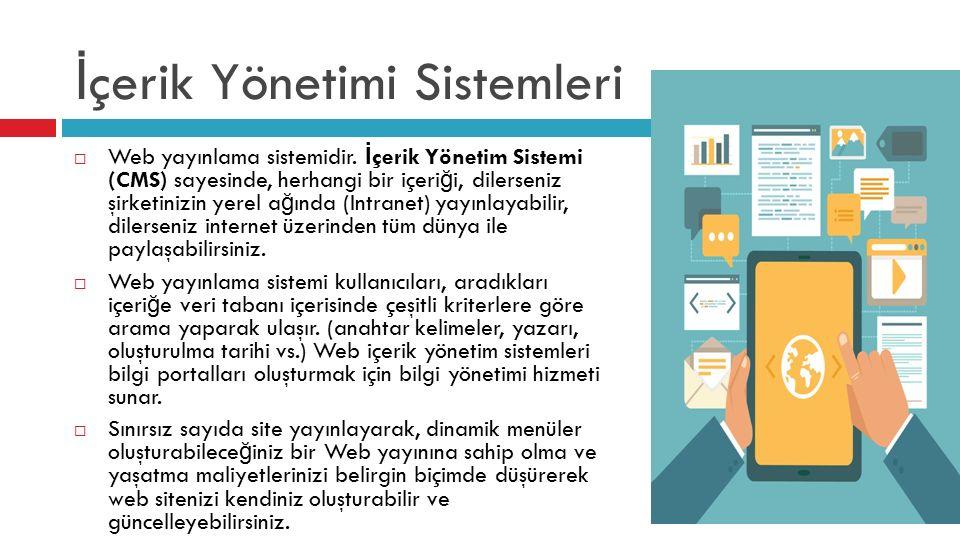 İ çerik Yönetimi Sistemleri  Web yayınlama sistemidir.