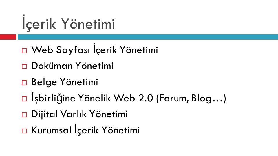 İ çerik Yönetimi  Web Sayfası İ çerik Yönetimi  Doküman Yönetimi  Belge Yönetimi  İ şbirli ğ ine Yönelik Web 2.0 (Forum, Blog…)  Dijital Varlık Y