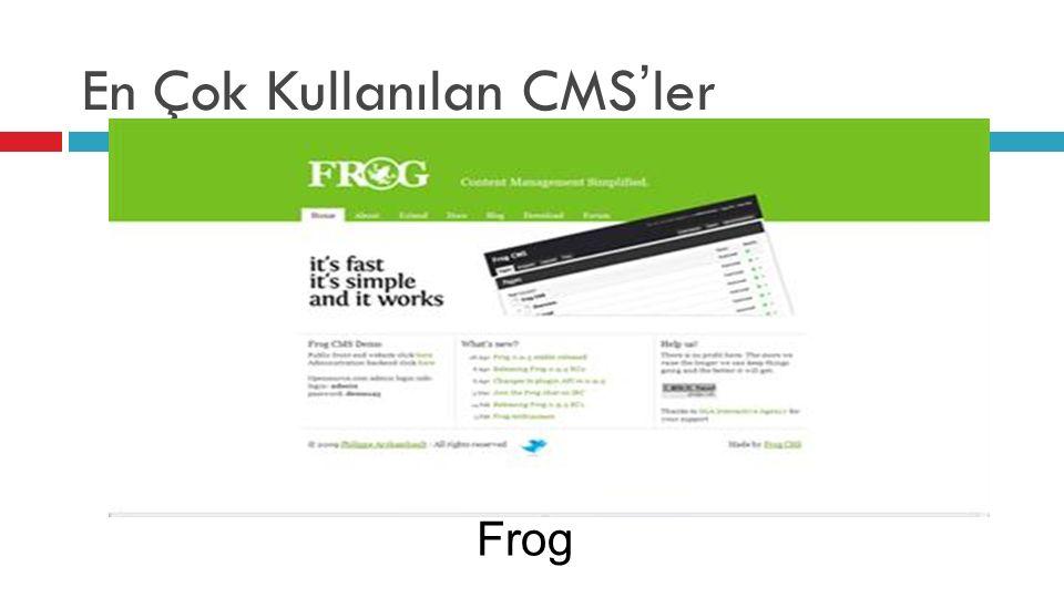 En Çok Kullanılan CMS'ler Frog