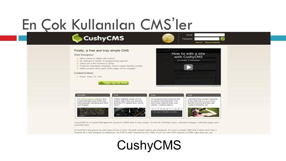 En Çok Kullanılan CMS'ler CushyCMS