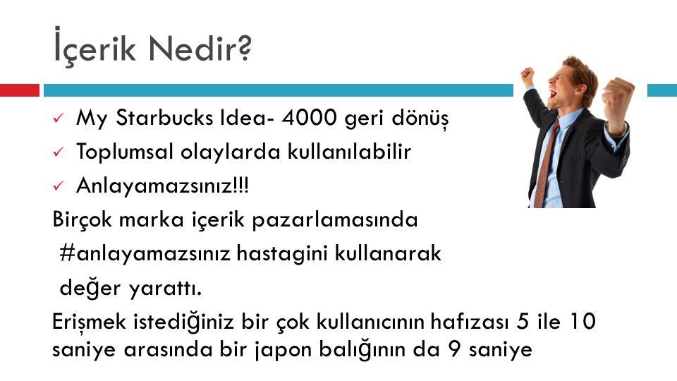 İ çerik Nedir? My Starbucks Idea- 4000 geri dönüş Toplumsal olaylarda kullanılabilir Anlayamazsınız!!! Birçok marka içerik pazarlamasında #anlayamazsı