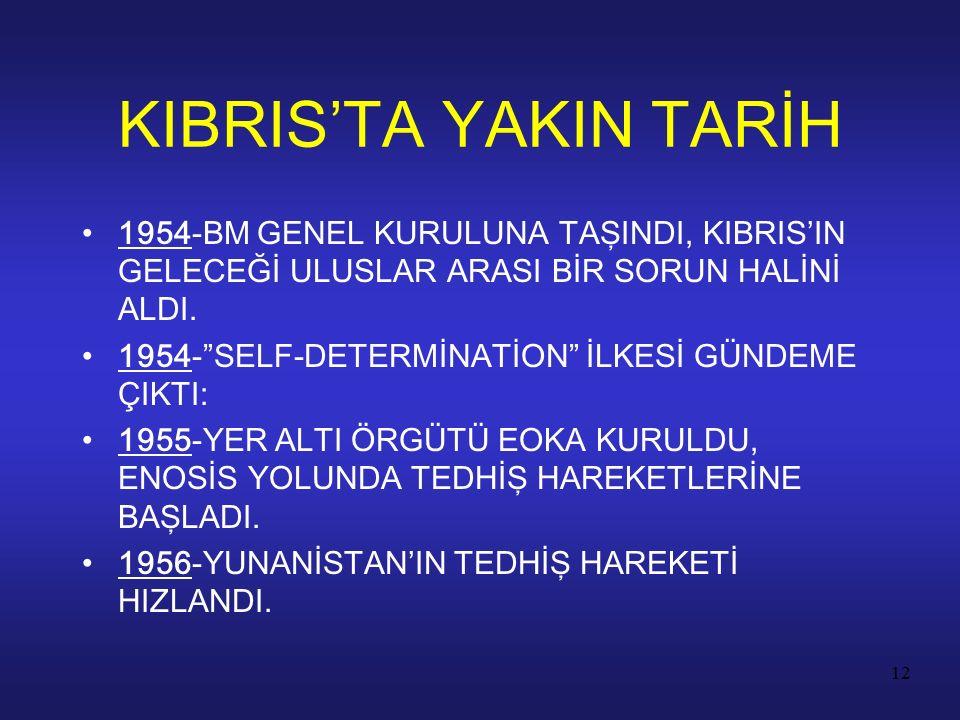 """12 1954-BM GENEL KURULUNA TAŞINDI, KIBRIS'IN GELECEĞİ ULUSLAR ARASI BİR SORUN HALİNİ ALDI. 1954-""""SELF-DETERMİNATİON"""" İLKESİ GÜNDEME ÇIKTI: 1955-YER AL"""