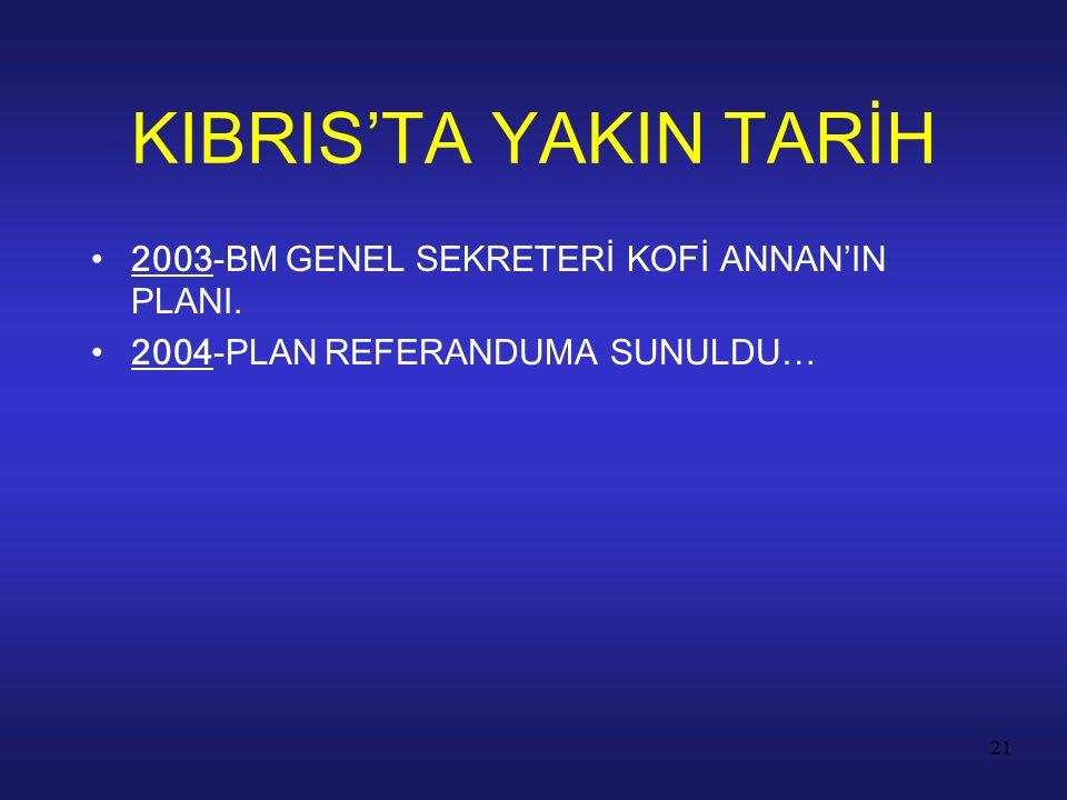 21 2003-BM GENEL SEKRETERİ KOFİ ANNAN'IN PLANI. 2004-PLAN REFERANDUMA SUNULDU… KIBRIS'TA YAKIN TARİH