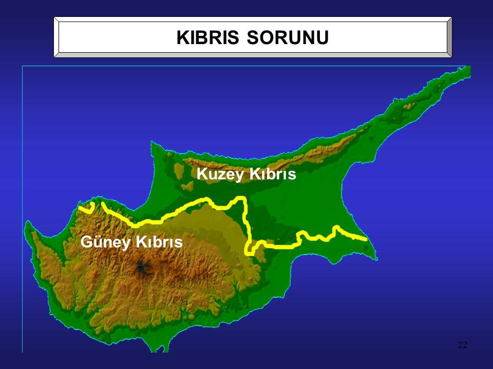 22 Kuzey Kıbrıs Güney Kıbrıs KIBRIS SORUNU