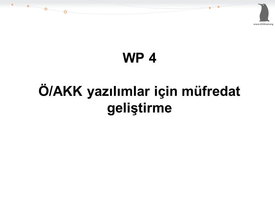 WP 4 Ö/AKK yazılımlar için müfredat geliştirme