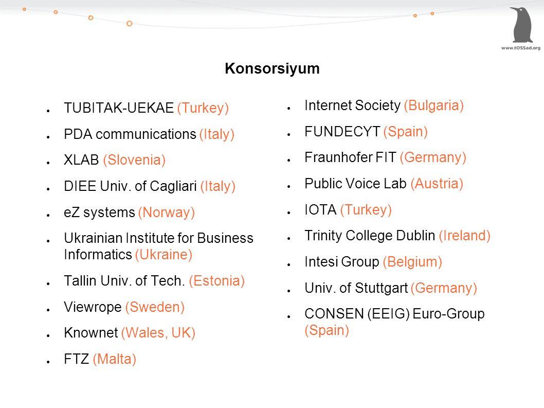 Konsorsiyum ● TUBITAK-UEKAE (Turkey) ● PDA communications (Italy) ● XLAB (Slovenia) ● DIEE Univ. of Cagliari (Italy) ● eZ systems (Norway) ● Ukrainian