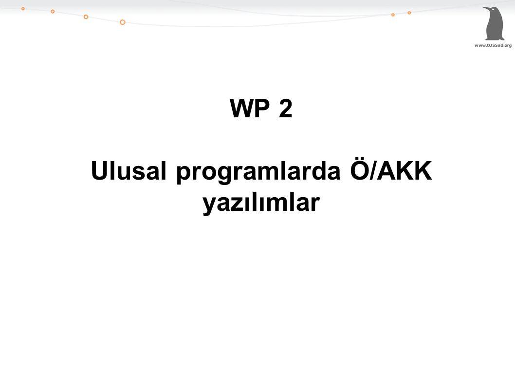 WP 2 Ulusal programlarda Ö/AKK yazılımlar