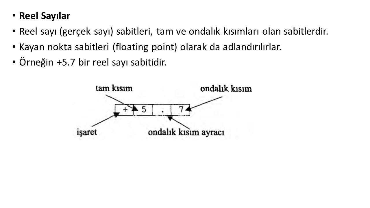 Reel Sayılar Reel sayı (gerçek sayı) sabitleri, tam ve ondalık kısımları olan sabitlerdir.