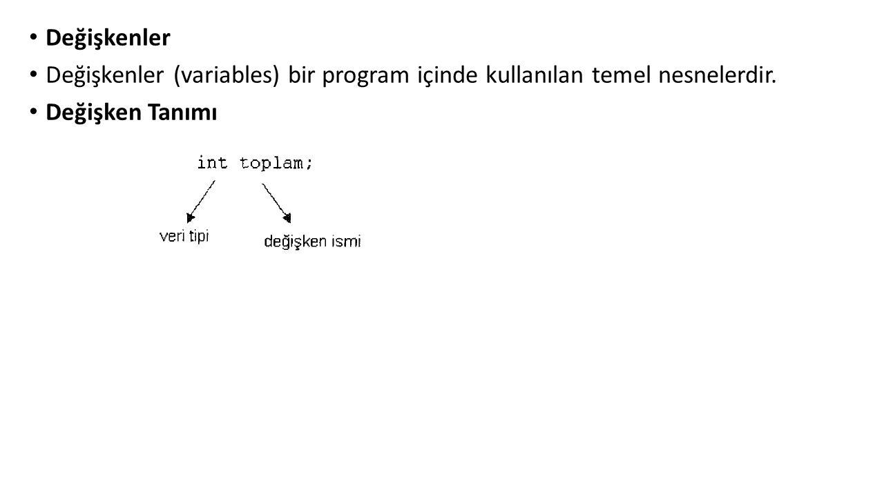 Değişkenler Değişkenler (variables) bir program içinde kullanılan temel nesnelerdir.