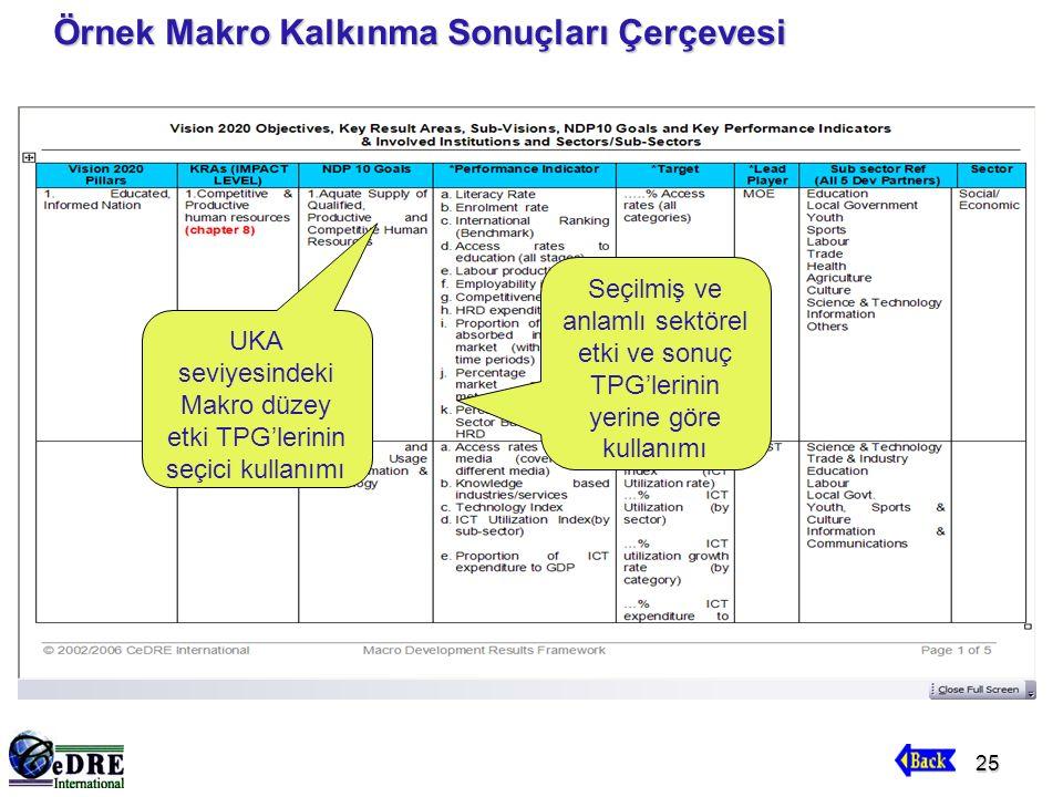 25 Örnek Makro Kalkınma Sonuçları Çerçevesi UKA seviyesindeki Makro düzey etki TPG'lerinin seçici kullanımı Seçilmiş ve anlamlı sektörel etki ve sonuç TPG'lerinin yerine göre kullanımı