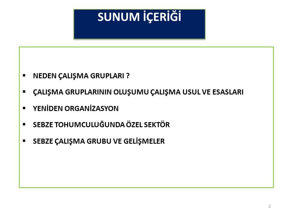 SUNUM İÇERİĞİ  NEDEN ÇALIŞMA GRUPLARI .
