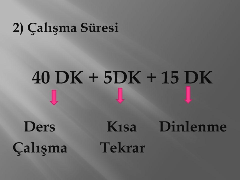 40 DK + 5DK + 15 DK Ders Kısa Dinlenme Çalışma Tekrar 2) Çalışma Süresi