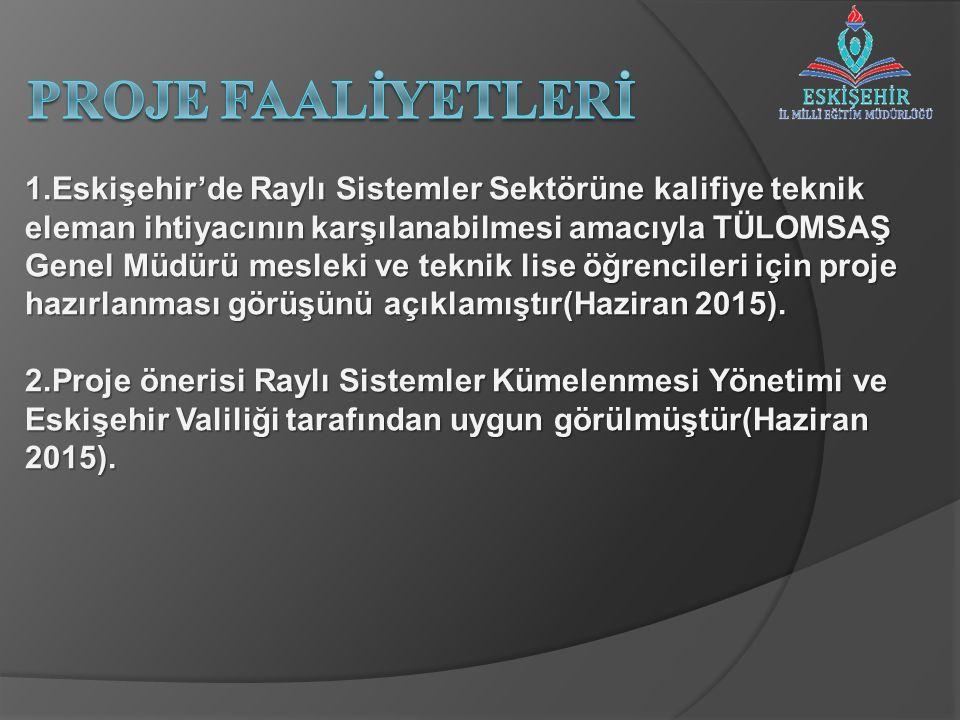 1.Eskişehir'de Raylı Sistemler Sektörüne kalifiye teknik eleman ihtiyacının karşılanabilmesi amacıyla TÜLOMSAŞ Genel Müdürü mesleki ve teknik lise öğrencileri için proje hazırlanması görüşünü açıklamıştır(Haziran 2015).