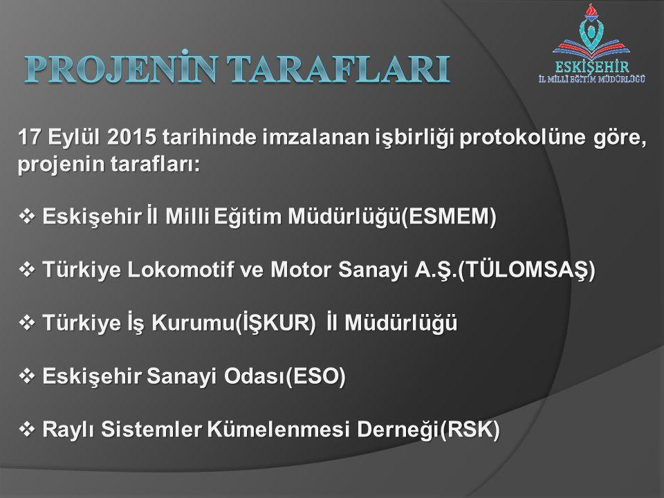 17 Eylül 2015 tarihinde imzalanan işbirliği protokolüne göre, projenin tarafları:  Eskişehir İl Milli Eğitim Müdürlüğü(ESMEM)  Türkiye Lokomotif ve