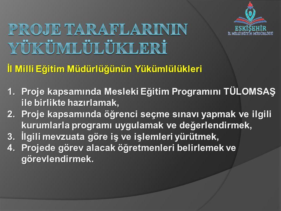 İl Milli Eğitim Müdürlüğünün Yükümlülükleri 1.Proje kapsamında Mesleki Eğitim Programını TÜLOMSAŞ ile birlikte hazırlamak, 2.Proje kapsamında öğrenci
