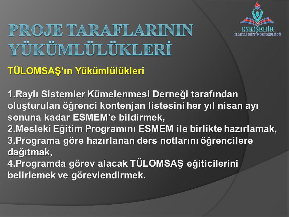 TÜLOMSAŞ'ın Yükümlülükleri 5.Yıllık eğitim planını(konular,eğiticiler,öğrenciler,eğitim takvimi vb.)hazırlamak ve ESMEM'e onaya sunmak, 6.