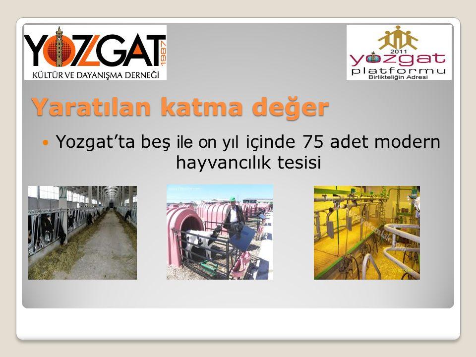 Yaratılan katma değer Yozgat'ta beş ile on yıl içinde 75 adet modern hayvancılık tesisi