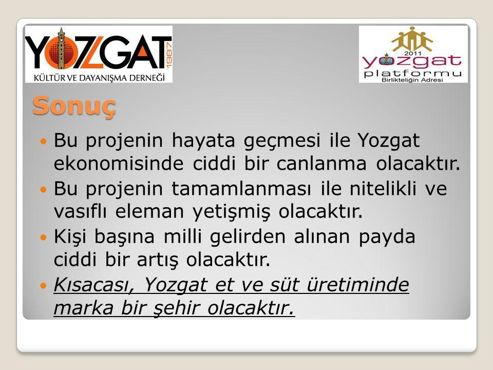 Sonuç Bu projenin hayata geçmesi ile Yozgat ekonomisinde ciddi bir canlanma olacaktır. Bu projenin tamamlanması ile nitelikli ve vasıflı eleman yetişm