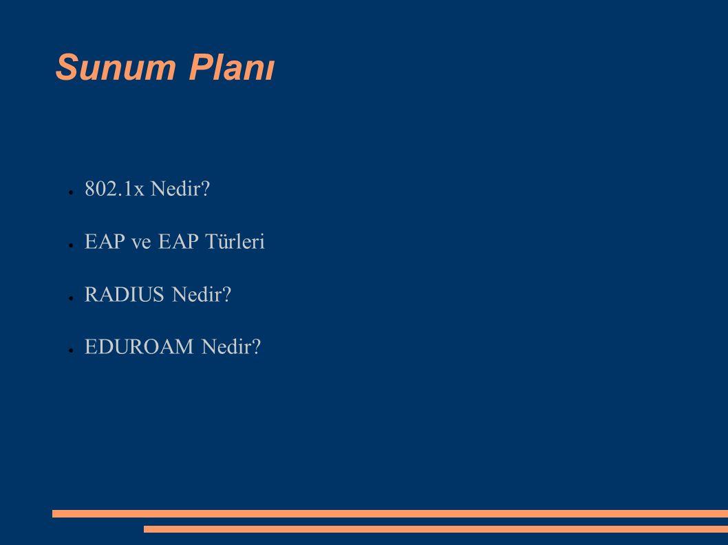 Sunum Planı ● 802.1x Nedir? ● EAP ve EAP Türleri ● RADIUS Nedir? ● EDUROAM Nedir?