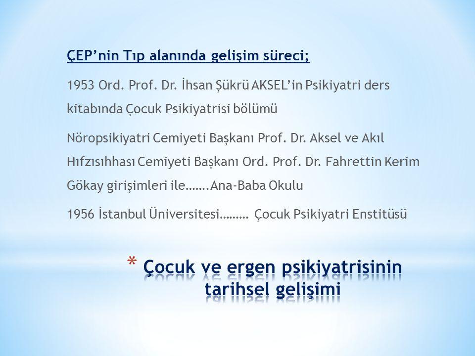 ÇEP'nin Tıp alanında gelişim süreci; 1953 Ord. Prof. Dr. İhsan Şükrü AKSEL'in Psikiyatri ders kitabında Çocuk Psikiyatrisi bölümü Nöropsikiyatri Cemiy
