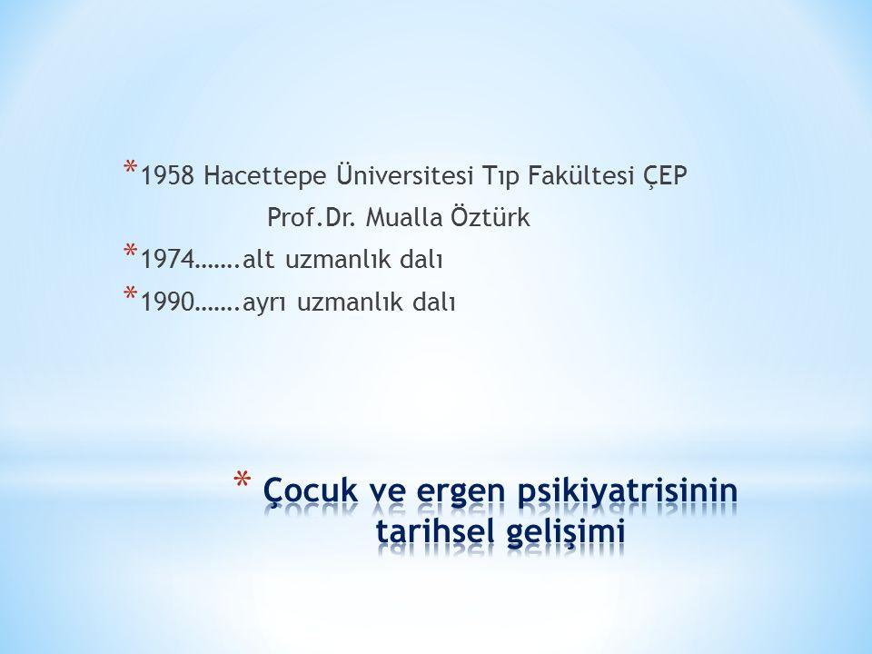 * 1958 Hacettepe Üniversitesi Tıp Fakültesi ÇEP Prof.Dr. Mualla Öztürk * 1974…….alt uzmanlık dalı * 1990…….ayrı uzmanlık dalı