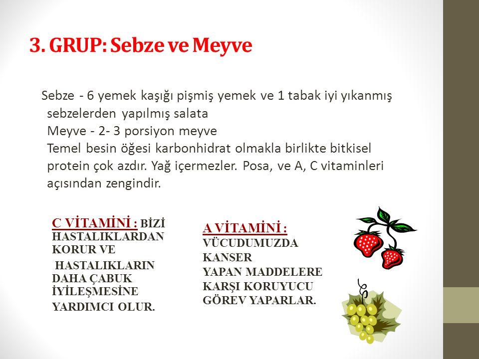 3. GRUP: Sebze ve Meyve Sebze - 6 yemek kaşığı pişmiş yemek ve 1 tabak iyi yıkanmış sebzelerden yapılmış salata Meyve - 2- 3 porsiyon meyve Temel besi